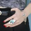 Big gemstone ring and inspo bracelet