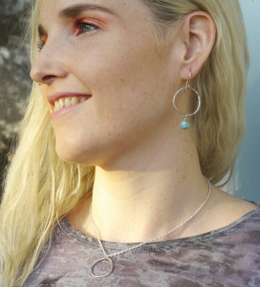 Turquoise hoop earring & circle pendant necklace