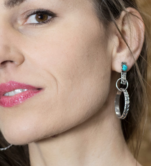 Sterling silver chunky hoop earring with turquoise