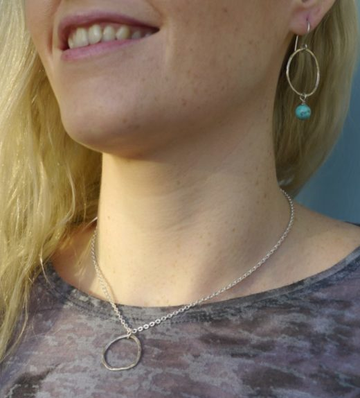 Sterling silver necklace and earring