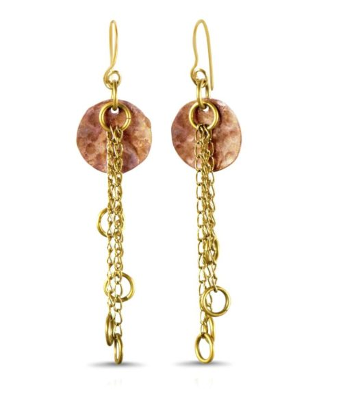 copper hammered drop earing-min