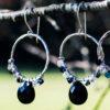 Black Crystal Hoop Earrings