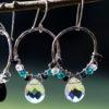 Blue and White Crystal Hoop Earrings