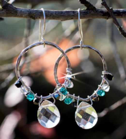 crystal blue&white earring