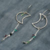 Sterling silver crescent moon earrings with crystals