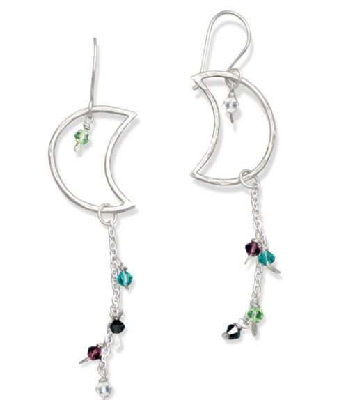 Crescent moon sterling silver earrings with gemstones