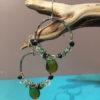 Crystal Hoop Earrings - Black and Green