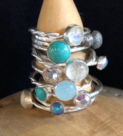 Stacking sterling silver rings with gemstones