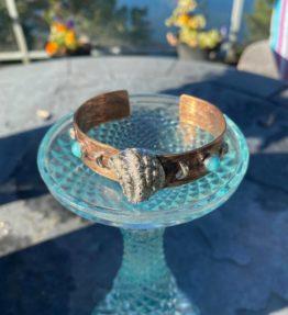 Copper, Turquoise, Silver Cuff