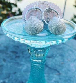 Ocean themed sterling shell earrings