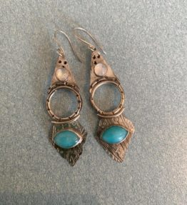 Sterling Silver Ocean Themed Earrings with Turquoise and Moonstone