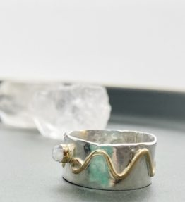 Silver Ring with 14KT Gold Accent and Moonstone